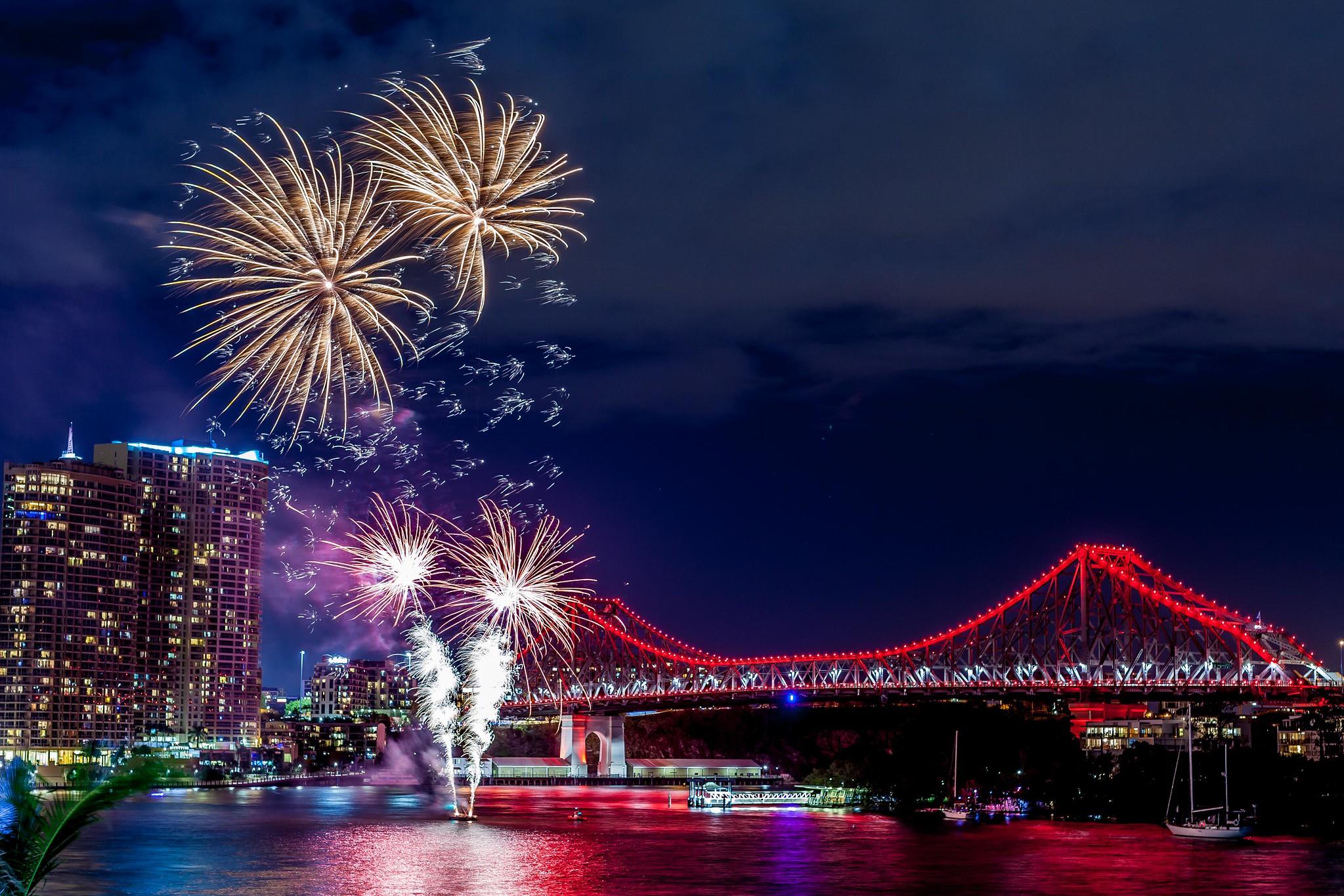 """Fireworks from Eagle Street Pier"" by Fishyone1 via Flickr"